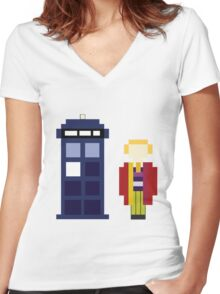 Pixel 6th Doctor and TARDIS Women's Fitted V-Neck T-Shirt