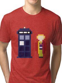 Pixel 6th Doctor and TARDIS Tri-blend T-Shirt
