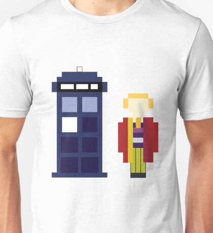 Pixel 6th Doctor and TARDIS Unisex T-Shirt