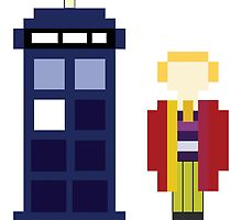 Pixel 6th Doctor and TARDIS by ObscureM