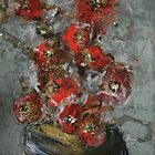 Black Vase With Red Flowers by Christine Clarke
