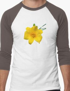 Yellow Daylily Flower Art Men's Baseball ¾ T-Shirt