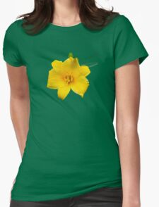 Yellow Daylily Flower Art Womens Fitted T-Shirt