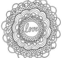 Zentangle Mandala Love Black & White by cehouston