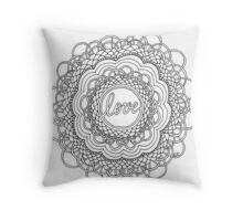 Zentangle Mandala Love Black & White Throw Pillow