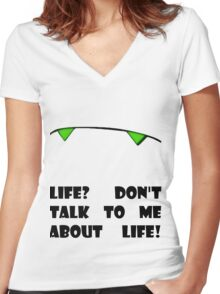 Marvin the Android's vision of life Women's Fitted V-Neck T-Shirt
