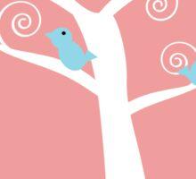 5  blue birds in a tree (pink background) Sticker