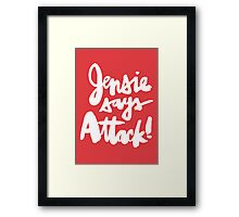 Jensie Says Attack! Red Framed Print