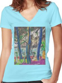 From Darling Point Towards Point Piper on an Overcast Day Women's Fitted V-Neck T-Shirt