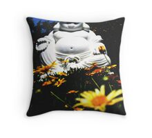 Smiling Buddha in the Temple Garden  Throw Pillow