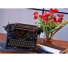 Novelist At Work - Painted Photographic Print