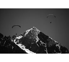 Paragliders in Mountains Photographic Print