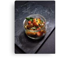Summery fruit salad with mint and a sesame butterscotch Canvas Print