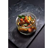Summery fruit salad with mint and a sesame butterscotch Photographic Print