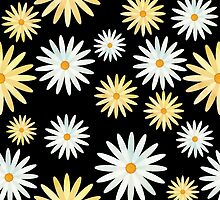 Watercolour Daisy Pattern by tanyadraws