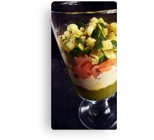 Smoked salmon verrine with zucchini-duo, a Gorgonzola mornay sauce and peppery chocolate shards Canvas Print