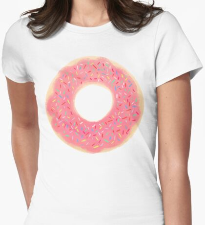 Pink Sprinkled Donut Womens Fitted T-Shirt