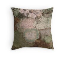 Multi Colored Lichen on a Tree Trunk in the Guatemalan  Jungle  Throw Pillow