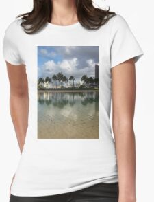 Tropical Vacation - Swaying palms and Crystal Clear Water Womens Fitted T-Shirt
