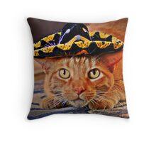 Cat in the Black Sombrero Throw Pillow