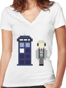 Pixel 7th Doctor and TARDIS Women's Fitted V-Neck T-Shirt