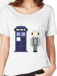 Pixel 7th Doctor and TARDIS Women's Relaxed Fit T-Shirt