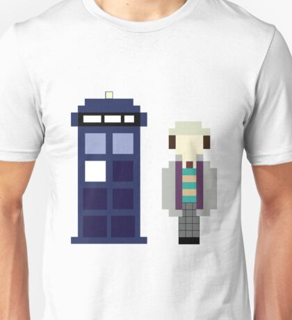 Pixel 7th Doctor and TARDIS Unisex T-Shirt