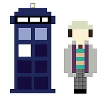 Pixel 7th Doctor and TARDIS Photographic Print