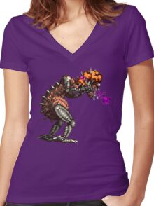Super Metroid - Mother Brain Women's Fitted V-Neck T-Shirt