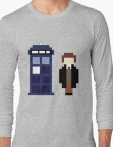 Pixel 8th Doctor and TARDIS Long Sleeve T-Shirt