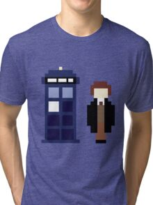 Pixel 8th Doctor and TARDIS Tri-blend T-Shirt