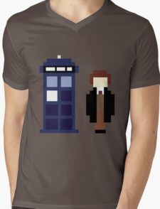 Pixel 8th Doctor and TARDIS Mens V-Neck T-Shirt
