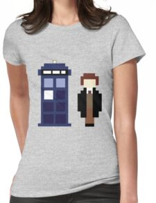 Pixel 8th Doctor and TARDIS Womens Fitted T-Shirt