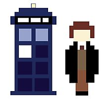Pixel 8th Doctor and TARDIS Photographic Print