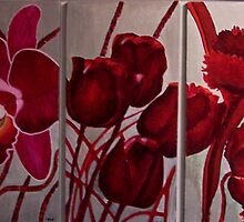 tulips and an orchid by diana hurley