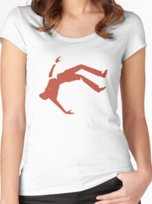 Retro Design Of Man Falling Women's Fitted Scoop T-Shirt