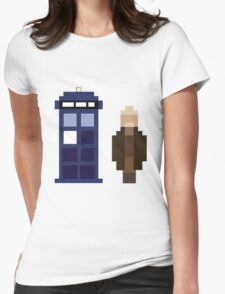 Pixel War Doctor and TARDIS Womens Fitted T-Shirt