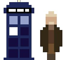 Pixel War Doctor and TARDIS by ObscureM