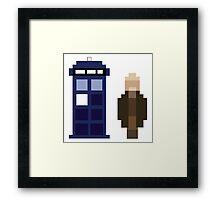 Pixel War Doctor and TARDIS Framed Print