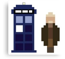 Pixel War Doctor and TARDIS Canvas Print