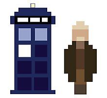 Pixel War Doctor and TARDIS Photographic Print