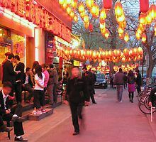 Beijing restaurants, early evening in April. by Philip Mitchell