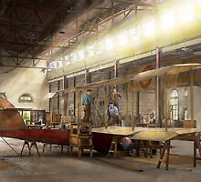 Plane - In the Airplane Factory 1918 by Mike  Savad