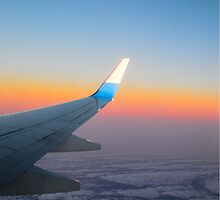 Aeroplane Wing Sunset by olly27