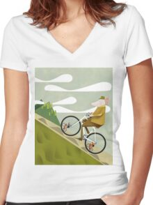 Hamster Cyclist Road Bike Poster Women's Fitted V-Neck T-Shirt