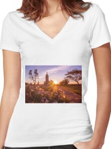 Through The Petunias Women's Fitted V-Neck T-Shirt