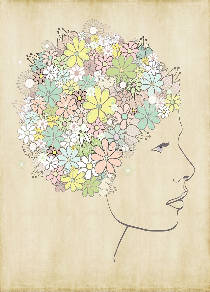With Dreams of Blooms in her Hair Print by Pip Gerard