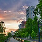 Sunset over Condos  by Myron Watamaniuk