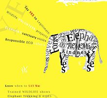 Responsible Tourism Elephant Typography Poster by Nola Lee Kelsey