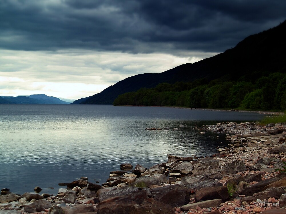 Overcast At Loch End, Scotland. by Aj Finan